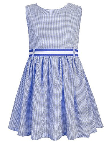 Arshiner Girls O-Neck Plaid Sleeveless Backless A-Line Dress With Belt