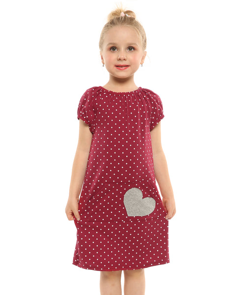 Arshiner Kids Girl Elastic O-Neck Short Sleeve Polka Dot Heart Pocket Pullover Dress