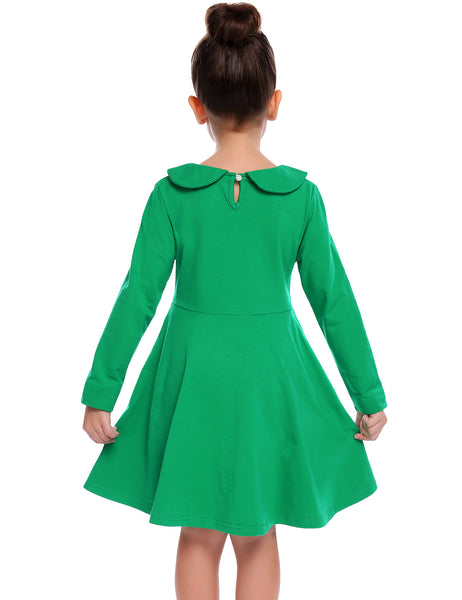 Arshiner Little Girls Dresses Long Sleeve Doll Collar Swing Party Dress