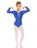Arshiner Girl's Gymnastic Ballet Athletic Clothes Long Sleeve Solid Sparkle Leotard