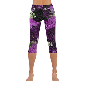 Little Purple Carnations New Low Rise Capri Leggings (Flatlock Stitch) (Model L09)