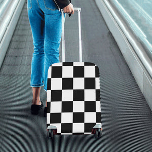 Black White Checkers Luggage Cover/Small 24'' x 20''