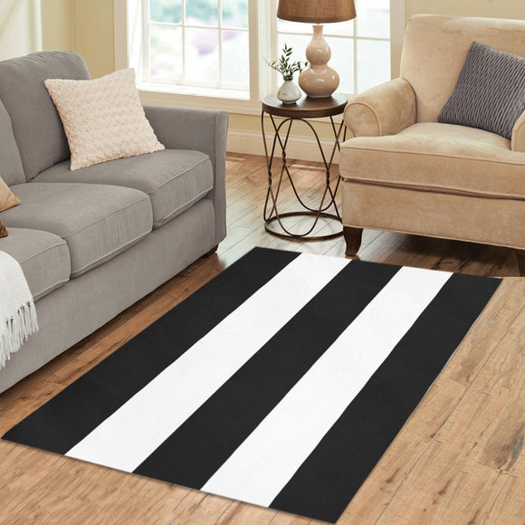 Black White Stripes Area Rug 5'3''x4'