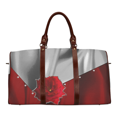 Two Tone Silk Rose Waterproof Travel Bag/Small (Model 1639)