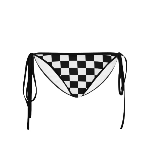 Black White Checkers Custom Bikini Swimsuit Bottom