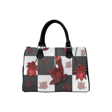Burnt Crimson Flora Boston Handbag (Model 1621)
