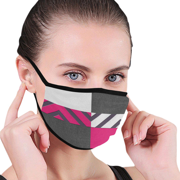 Monochrome Pink Tiles Mouth Mask