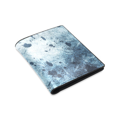Water Blue Splatter Men's Leather Wallet (Model 1612)
