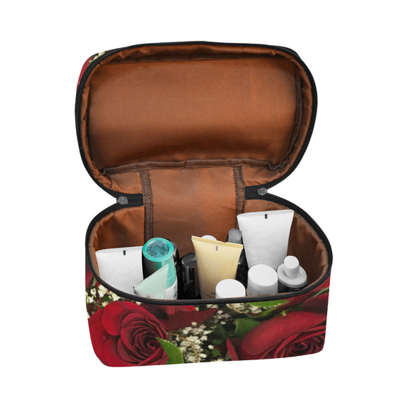 Carmine Roses Cosmetic Bag/Large (Model 1658)