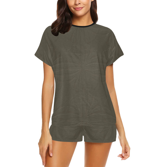Deep Bronze Taupe Women's Short Pajama Set (Sets 01)