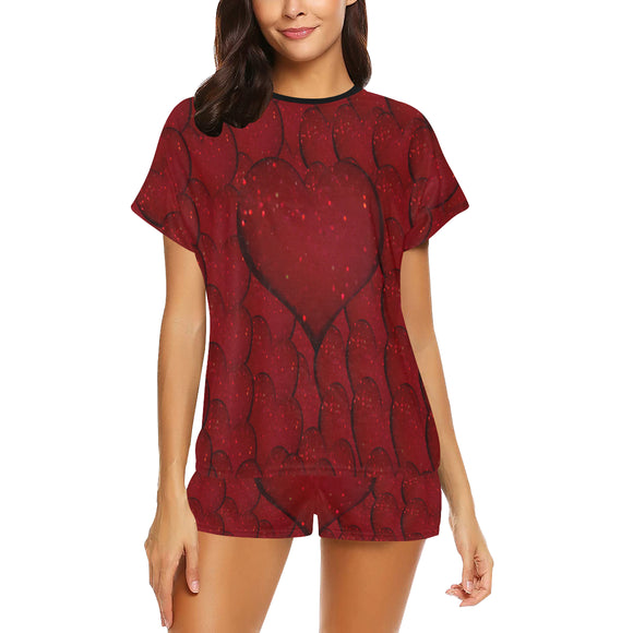 Sangria Hearts Women's Short Pajama Set (Sets 01)