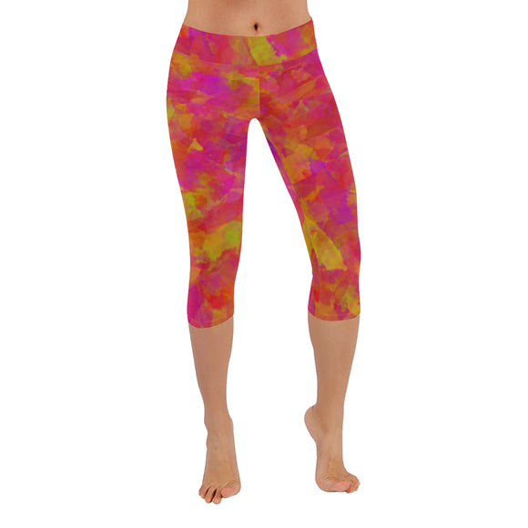 Yellow Red Damask Low Rise Capri Leggings (Invisible Stitch) (Model L08)