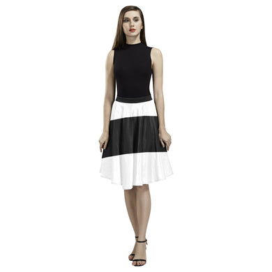 Black White Stripes Melete Pleated Midi Skirt (Model D15)