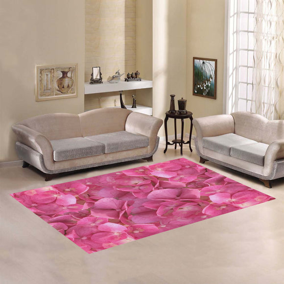 Dark Pink Flowers Area Rug7'x5'