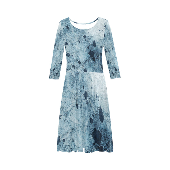 Water Blue Splatter Elbow Sleeve Ice Skater Dress (D20)