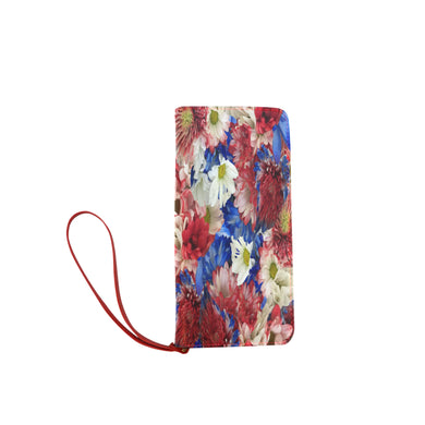 Red White Blue Flora Women's Clutch Wallet (Model 1637)