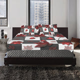 Burnt Crimson Flora 3-Pieces Bedding Set