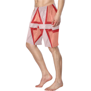 Shades of Red Patchwork Men's Swim Trunk (Model L21)