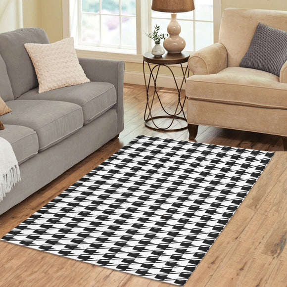 Black White Houndstooth Area Rug 5'3''x4'