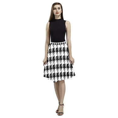 Black White Houndstooth Melete Pleated Midi Skirt (Model D15)