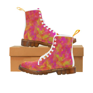 Yellow Red Damask Martin Boots For Women Model 1203H