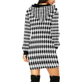 Black White Houndstooth All Over Print Hoodie Mini Dress (Model H27)