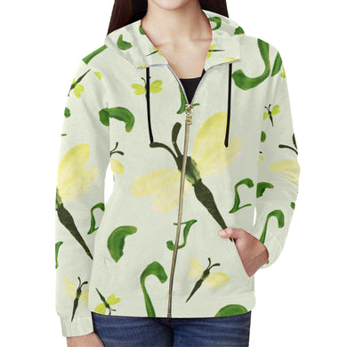 Olivine Dell Dragonflies All Over Print Full Zip Hoodie for Women (Model H14)