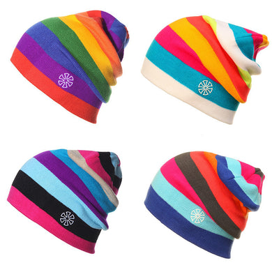 Outdoor Beanies Cap Casual Striped Knitted Hat Headwear Snowboarding Skiing
