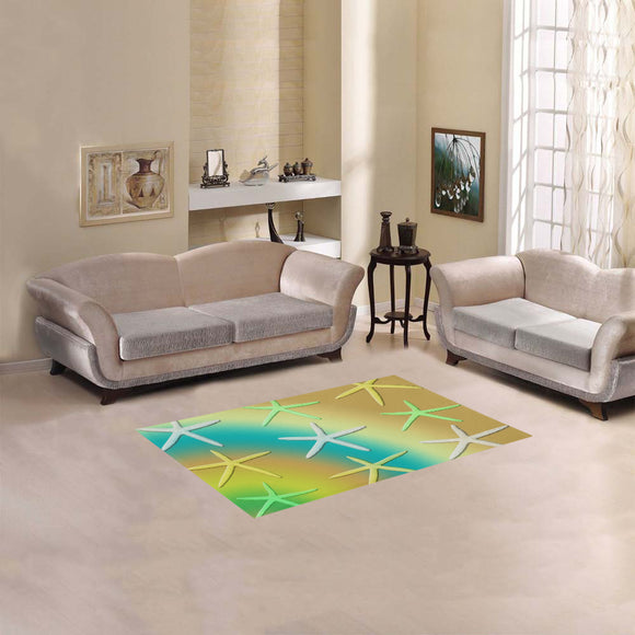 Lime White Yellow Starfishes Area Rug 2'7