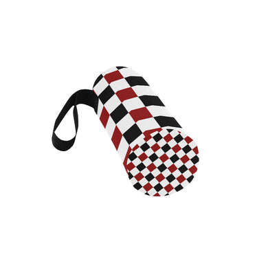 Black Red White Checker Neoprene Water Bottle Pouch/Small