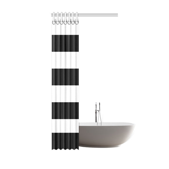 Black White Stripes Shower Curtain 36