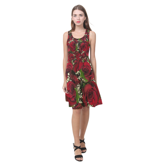 Carmine Roses Atalanta Casual Sundress(Model D04)