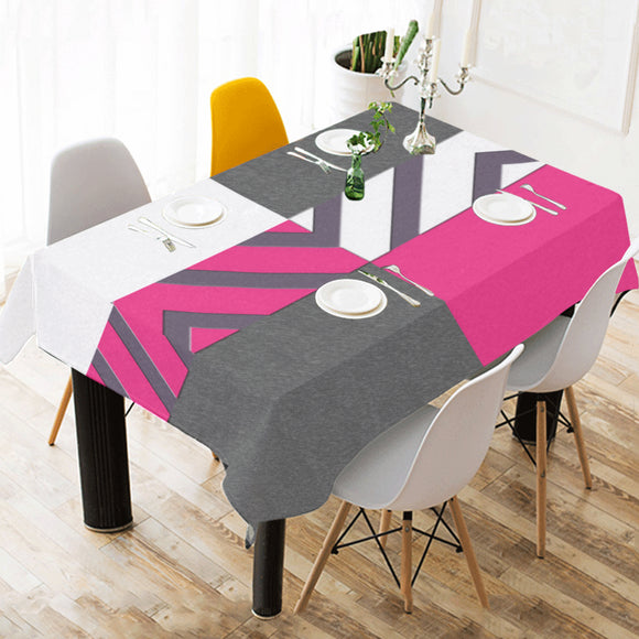 Monochrome Pink Tiles Cotton Linen Tablecloth 52
