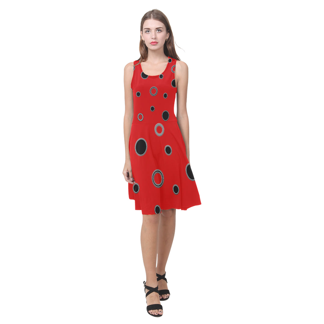 Black Polka Dots Atalanta Casual Sundress(Model D04)