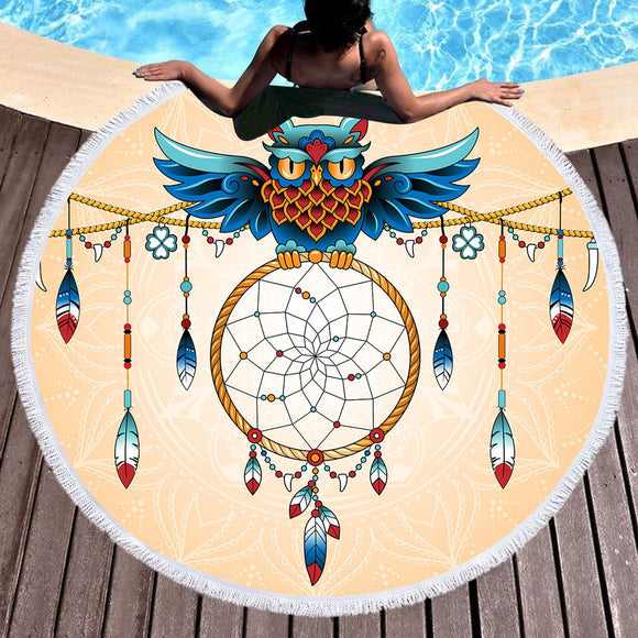 Bedding 3D Printing Owl Round Bohemian Beach Towel Home Textile Tapestry Blanket