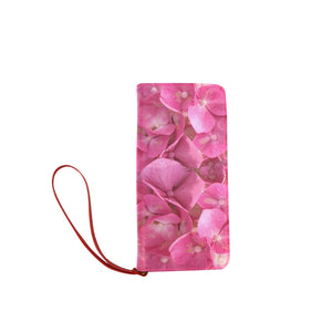 Dark Pink Flowers Women's Clutch Wallet (Model 1637)