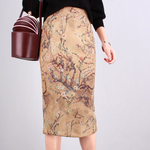 Women Chinese Style High Waist Suede Knee-Length Vintage Print Pencil Skirts