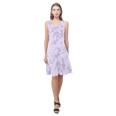 Lavender Moon Raker Sleeveless Splicing Shift Dress(Model D17)