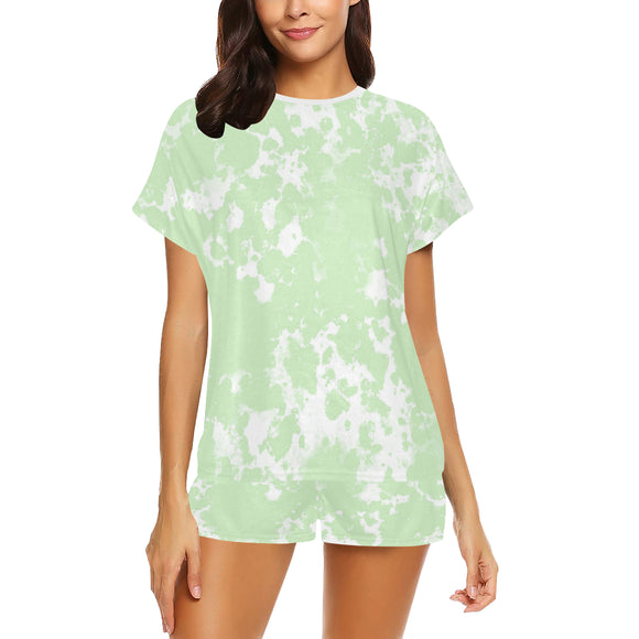 Tea Green Mix Women's Short Pajama Set (Sets 01)