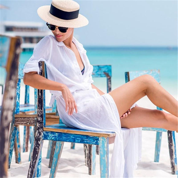 Women Swimwear Cover Up Solid Chiffon Walk On The Beach Wear