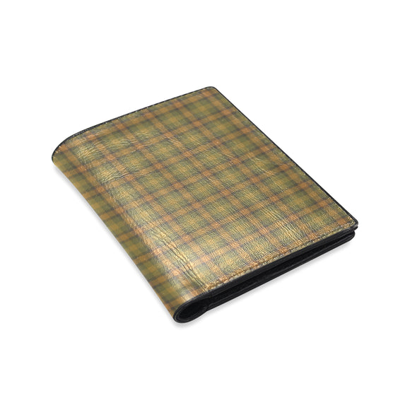 Gold Olive Plaid Men's Leather Wallet (Model 1612)