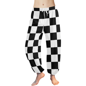 Black White Checkers Women's All Over Print Harem Pants (Model L18)