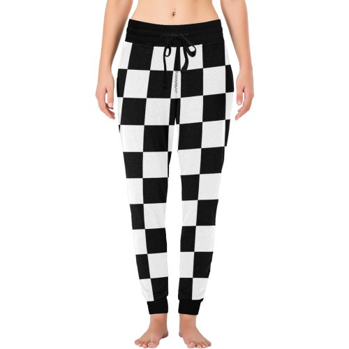 Black White Checkers All Over Print Long Johns (Model L29)