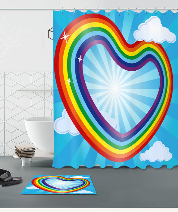Shower Unicorn Curtain Rainbow Bathroom