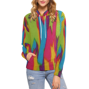 Rainbow Abstract Stars All Over Print Hoodie for Women (USA Size) (Model H13)