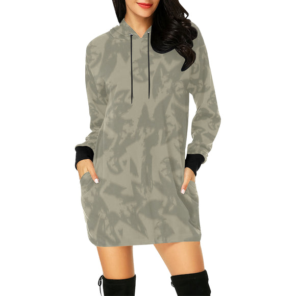 Eagle Taupe Gray All Over Print Hoodie Mini Dress (Model H27)