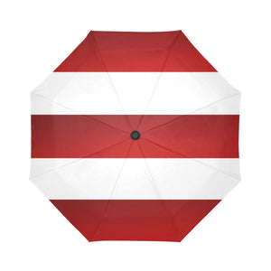 Red White Stripes Auto-Foldable Umbrella