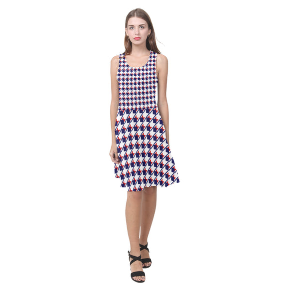 Red White Blue Houndstooth Atalanta Casual Sundress(Model D04)