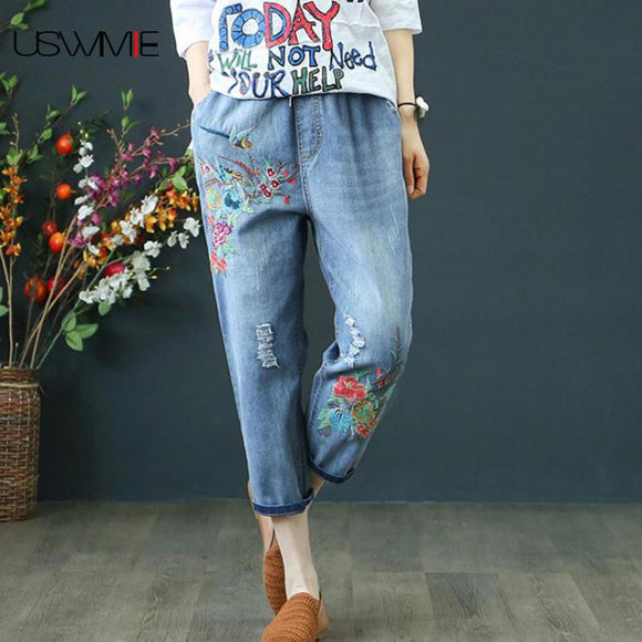 Women Denim Retro Embroidery Drawstring Holes Loose Seven Plus Size Pants
