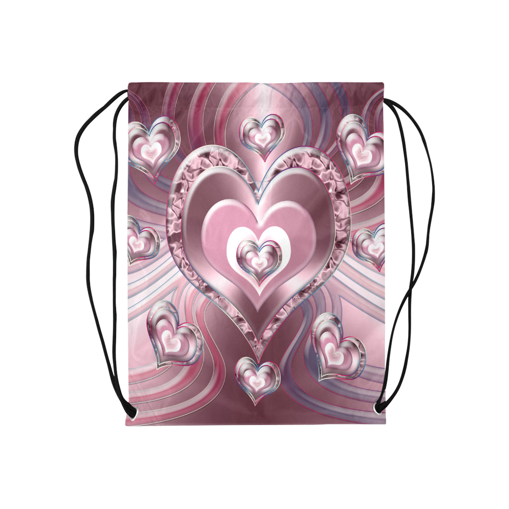 River Flowing Hearts Medium Drawstring Bag Model 1604 (Twin Sides) 13.8